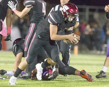 VON CASTOR/Special to the Phoenix After ripping the ball from Bristow's Tyler Wayland, Wagoner's Drew Mills races 50 yards for the second halfs only touchdownThursday night at Wagoner. The Bulldogs won 29-28 in overtime.
