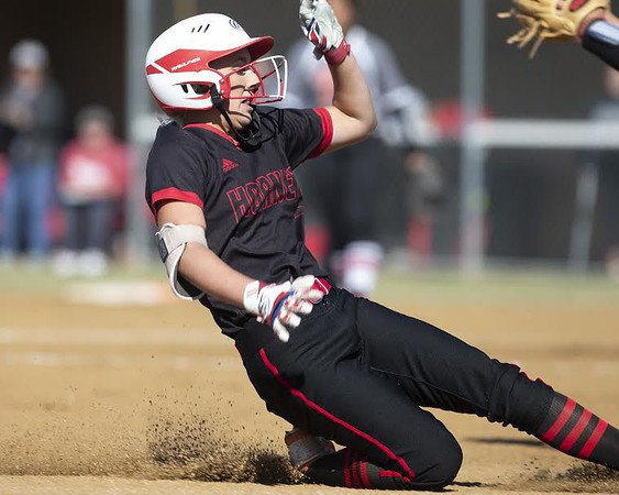VON CASTOR/Phoenix Special Photo<br /> Hilldale's Drew Riddle slides into third after a first-inning triple against Purcell on Friday in the Class 4A semifinals. It was Hilldale's only hit in a 10-0 loss.