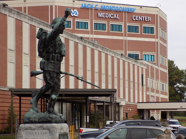 Staff photo by Mike Elswick<br /> The statue of a World War I doughboy soldier which has been in front of Muskogee's Jack C. Montgomery VA Medical Center for more than 90 years is among WW I memorials across the nation selected to be  restored in coming months.