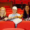 Phoenix special photo by John Hasler<br /> From left, Newcomer of Year Drew Riddle of Hilldale, Coach of Year Kia Morgan of Oktaha, and Most Valuable Player Shandria Jackson had prime seats in the 2017 fastpitch softball show in the area.