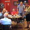 Staff photo by Mike Elswick<br /> Maj. Ed Pulido, retired U.S. Army, spoke to the Muskogee Exchange Club about the Iraq War injury that resulted in having his left leg amputated. He serves as a spokesman for the nationwide organization Folds of Honor, which provides educational scholarships to spouses and children of wounded troops.