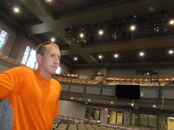 First Baptist Church light and sound director Nick Luttrull says LED lights are among renovations to the church's sanctuary.