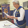 Staff photo by Cathy Spaulding<br /> Dressed in her Civitan vest, Winnie Bowman leads the local club in the Civitan Creed during a recent meeting.