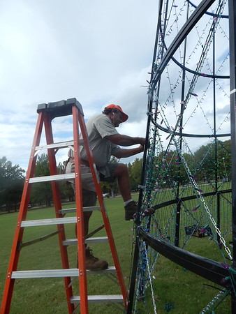 KENTON BROOKS/Muskogee Phoenix<br /> Rodney Faith of the Muskogee Parks and Recreation Department attaches lights to the tree at the ball field in Honor Heights Park on Monday. Several crews were attaching lights to trees throughout the park to prepare for the annual Garden of Lights. Parks Assistant Director Rick Ewing said Honor Heights will be closed to traffic on Nov. 1 to complete the installation of the 1.1 million lights and will re-open on Thanksgiving night.