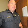 Staff photo by Cathy Spaulding<br /> Fort Gibson Police Officer Dustin Applegate wears a new uniform, which he said feels cooler than the old one. He said the uniforms arrived in late August.