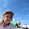 Staff photo by Cathy Spaulding<br /> Maya Milli- gan, 6, adds to her log of six miles on her bicycle, which she accomplished within a week after learning to ride.