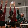 Phoenix special photo by John Hasler<br /> Muskogee's Caren Lamont shoots over Owasso's Madison Hall, left, and Emma Neighbors in a 3-0 loss on Senior Night at MHS.