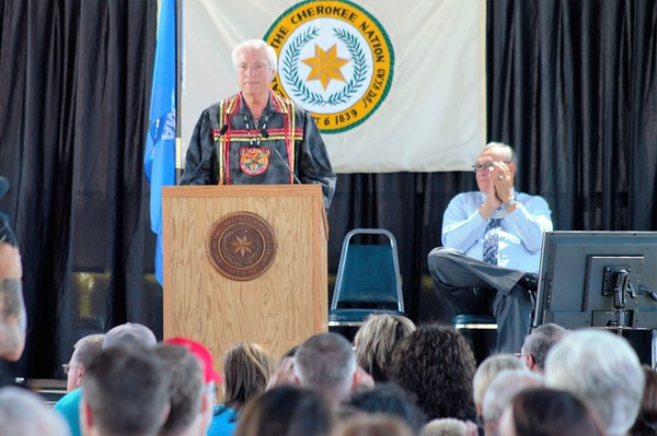 "Photo by Wendy Burton<br /> Cherokee Nation Principal Chief Bill John Baker's State of the Nation address followed the theme of this year's Cherokee National Holiday — ""Stewards of Our Land,"" reflecting the Cherokee's efforts on preservation of traditional lands, wildlife and natural resources."