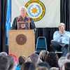 """Photo by Wendy Burton<br /> Cherokee Nation Principal Chief Bill John Baker's State of the Nation address followed the theme of this year's Cherokee National Holiday — """"Stewards of Our Land,"""" reflecting the Cherokee's efforts on preservation of traditional lands, wildlife and natural resources."""