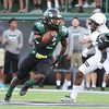 Phoenix special photo by Von Castor<br /> NSU's Jaylen Hall returns an interception against Lindenwood in the first quarter Thursday night in the Riverhawks home opener at Doc Wadley Stadium in Tahlequah.