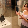 """Staff photo by Harrison Grimwood<br /> Cherokee Heritage Center Curator Callie Chunestudy talks about Cherokee artist Stephen Wood's """"Fire on the Inside"""" piece at the gallery for the 2016 Cherokee Homecoming Art Show."""