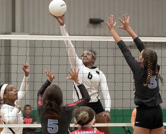 Phoenix special photo by Abigail Washington<br /> Muskogee's Ja'layiah Collins had 18 kills in a win over Collinsville on Thursday at the Rougher gym.