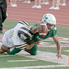 SHANE KEETER/Muskogee Phoenix<br /> Muskogee's Ty Williams breaks the plane for the Roughers' first touchdown of Friday's game against McAlester. Full story in Sports.