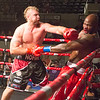 Phoenix special photo by Von Castor<br /> Tahlequah's Wes Nofire, left, delivers a right hook to the jaw of Stacy Frazier during Saturday's main event at the Civic Center. Nofire won the bout with a technical knockoutin the second round.