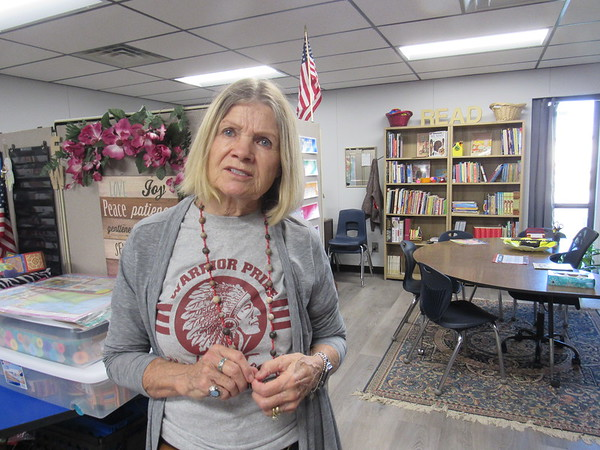 "Webbers Falls School interventionist and testing coordinator MaeDean Erb says ""almost every single thing"" in her classroom has been donated to replace items lost in late May floods."