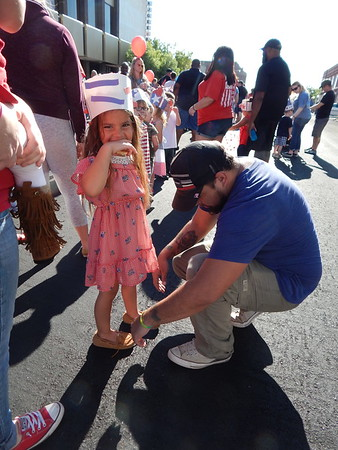 CATHY SPAULDING/Muskogee Phoenix<br /> Hundreds of children of the Early Childhood Center paraded their patriotism along Broadway on Tuesday. The walk marks the 17th anniversary of the Sept. 11, 2001, terrorists attacks.