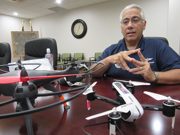 CATHY SPAULDING/Muskogee Phoenix Jason Unwin uses two drones to lift his interest in photography to new heights.