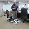 CATHY SPAULDING/Muskogee Phoenix<br /> Jason Unwin controls his airborne Kaptur Protocol drone inside a Muskogee-Davis Regional Airport conference room.
