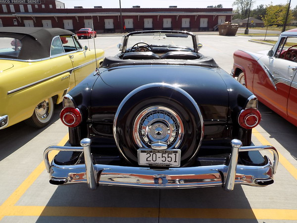 Staff photo by Mike Elswick<br /> This classic 1956 Ford Sunliner convertible is among the vintage 1950-era Fords in Muskogee over the weekend. The cars' owners are members of the Midwest Region Ford Crown Victoria Association holding their annual meeting in Muskogee through Sunday.