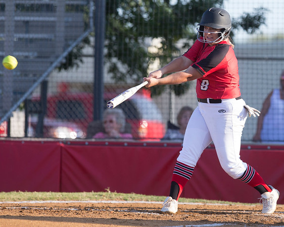 Phoenix special photo by Von Castor<br /> Hilldale's Abby Isham gets an RBI single Monday afternoon in the first game against Catoosa at Hilldale High School. The Lady Hornets won both games, 16-0 and 10-0, to finish District 4A-7 play.