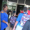 CATHY SPAULDING/Muskogee Phoenix<br /> Perline Boyattia welcomes children on the first day of class at New Tech at Cherokee Elementary School.