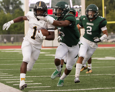 Phoenix special photo by Shane Keeter Muskogee's Devin Hillmon takes aim at a Midwest City ball carrier in action from the season-opener. Non-district slate behind them, Muskogee starts its District 6AII-2 title defense Friday with homecoming against Bartlesville.