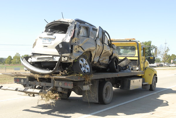 CHESLEY OXENDINE/Muskogee Phoenix<br /> Jarrard Clentis' vehicle was left destroyed after it struck a culvert, rolling over twice. Clentis was ejected from the vehicle.