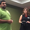 Staff photo by Mike Elswick<br /> Kevin Naik and Heather Cain, officers with the Muskogee Hotel and Lodging Association, addressed the group during a Sept. 14 meeting on past accomplishments and upcoming events.