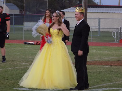 Staff photo by Mike Elswick Hilldale High School 2017 homecoming queen Hailey Huggins lets out a yell after her name was announced. Tanner Walker, right, was named king during pre-game ceremonies Friday night.