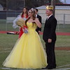 Staff photo by Mike Elswick<br /> Hilldale High School 2017 homecoming queen Hailey Huggins lets out a yell after her name was announced. Tanner Walker, right, was named king during pre-game ceremonies Friday night.