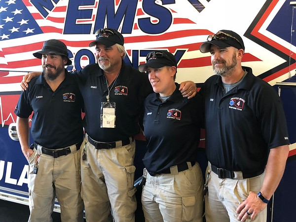 CHESLEY OXENDINE/Muskogee Phoenix<br /> Left to right: Paramedic Chris Turner, Emergency Medical Technician Jesse Sparks, Critical Care Paramedic Angela Dorough, and Advanced EMT Walter Coen traveled to North Carolina on Sept. 11 to aid in Hurricane Florence relief efforts. The squad returned Tuesday.