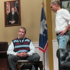 "CATHY SPAULDING/ Muskogee Phoenix<br /> Ned, a newly sworn in governor (Stan Cole, left) shares his worries with his assistant, Dave (Reed Burk) in Muskogee Little Theatre's production ""The Outsider"" which opens Friday."