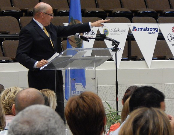 D.E. SMOOT/ Muskogee Phoenix<br /> Muskogee Mayor Bob Coburn highlighted the city's progress and outlined future challenges during his 2018 State of the City Address.