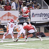 JOHN HASLER/Special to the Phoenix<br /> Fort Gibson's Carson Ladd surfs over Stilwell defenders during the Tigers' 55-8 win on Friday at Leo Donahue Tiger Stadium.