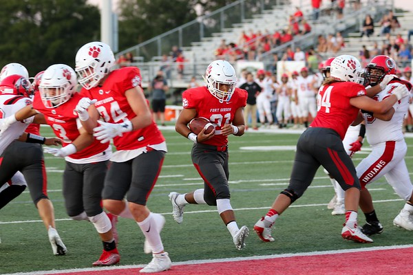 JOHN HASLER/Special to the Phoenix<br /> Fort Gibson's Tavien Woodworth finds an opening to stroll in for a touchdown at Friday's game. Fort Gibson won 58-8 against Stilwell. Story in Sports.