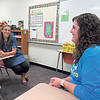 Staff photo by Cathy Spaulding<br /> New Fort Gibson Middle School teacher Sara Hyde, left, visits with her mentor teacher Karlee Ritchie. Fort Gibson continues a teacher mentoring program that used to be funded by the state.