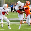 Phoenix special photo by John Hasler<br /> Fort Gibson running back Carter Lawson looks for yardage in last week's opener at Tahlequah.