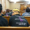 Staff photo by Wendy Burton<br /> Friends and family of Misty Martin-Sullins wait on a hearing to review Mark Ridley's jail sentence on Wednesday.