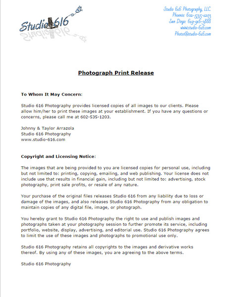 Photography Forms - Studio616