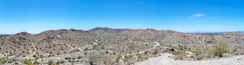 Panorama view of South Mountain Park near Pima Canyon (2009)
