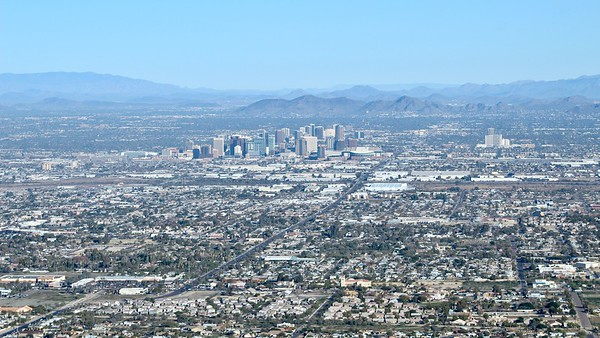 Downtown Phoenix as seen from Dobbins Lookout (2019)