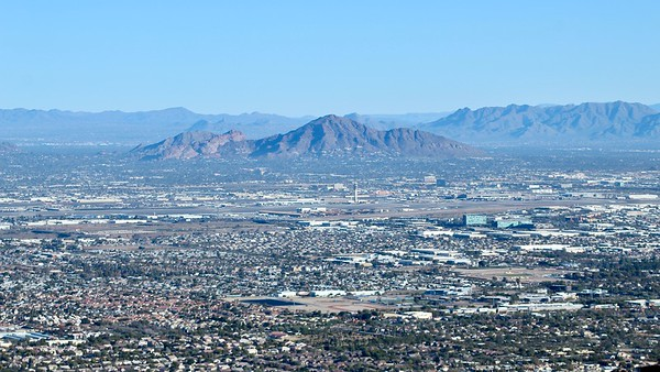 Camelback Mountain and Sky Harbor Airport as seen from Dobbins Lookout (2019)