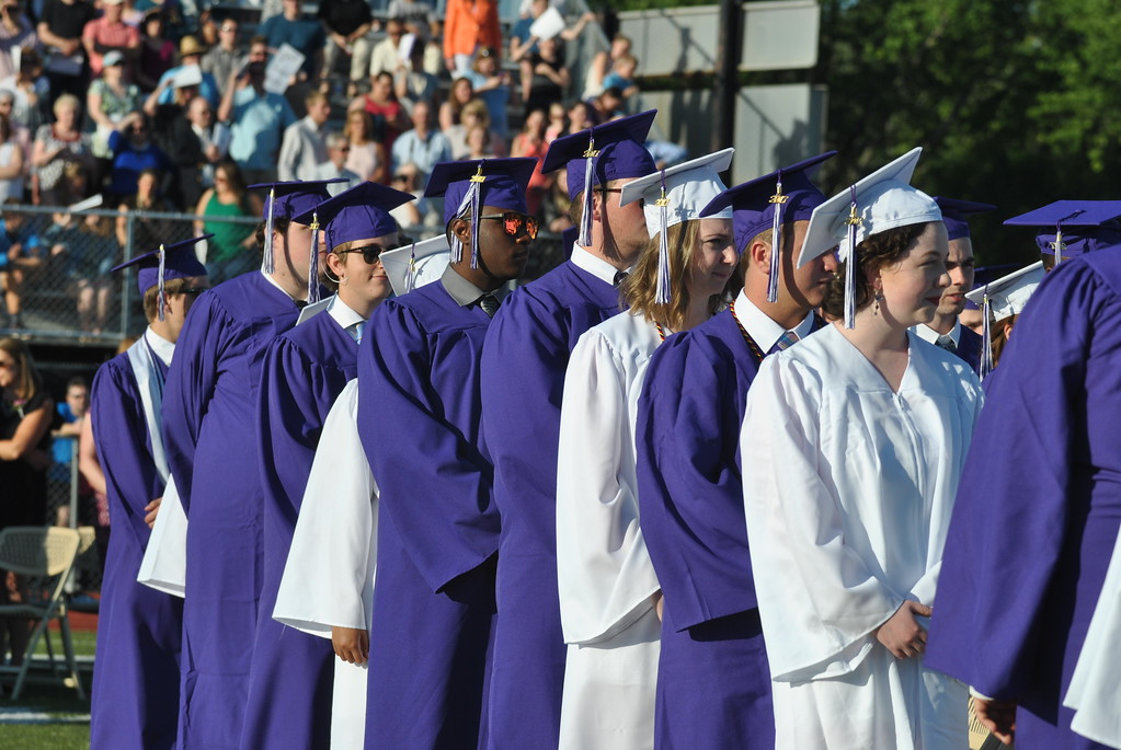 . Phoenixville Area High School�s Class of 2017 marches in during the school�s 60th annual commencement at Washington Field June 9.  Barry Taglieber � For Digital First Media