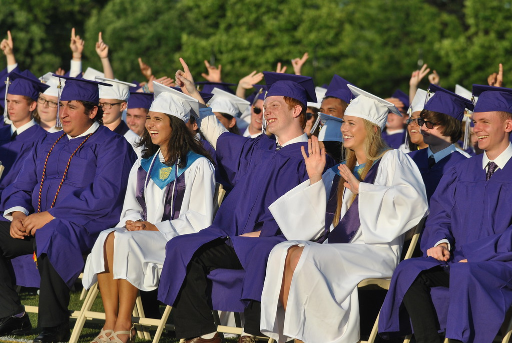 . Members of the Phoenixville Area High School Class of 2017 react to Principal Dr. Craig L. Parkinson taking a picture of the class.  Barry Taglieber � For Digital First Media