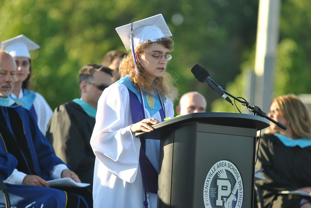 . Valedictorian Anna Kathryn Florio addresses the Class of 2017.  Barry Taglieber � For Digital First Media