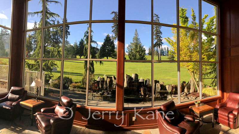 View from hotel lobby in Olympic Peninsula, WA