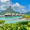 Bungalows on Bora Bora's fringing reef
