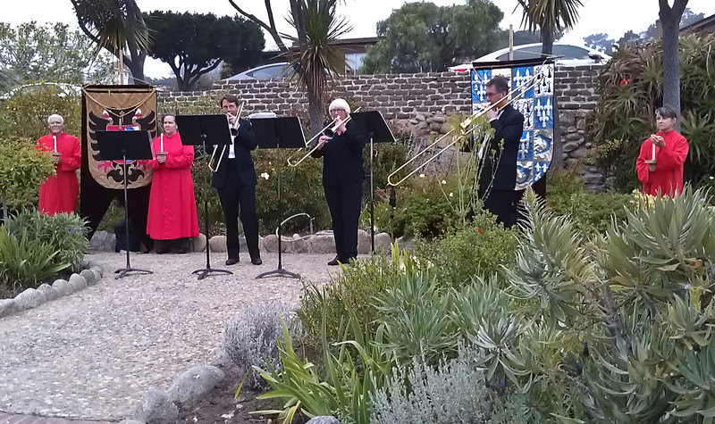 The Tower Brass, performing in the garden of Mission Carmel
