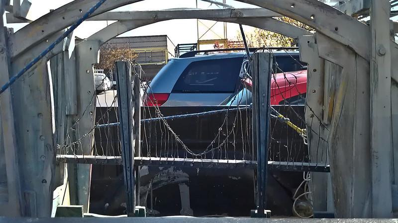Suspension bridge model in the back of someone's pickup