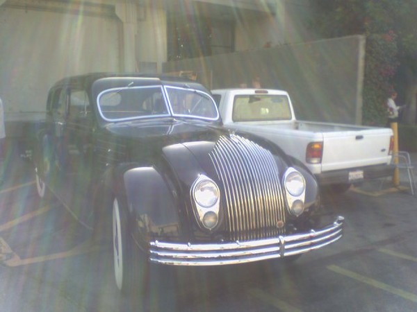 Jay Leno's 1936 Chrysler Airflow. Photo snapped by Pete Moffett on a Tonight Show gig.